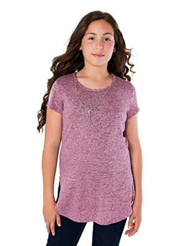 Smile You Are Beautiful Girls Plus Size Short Sleeve Sweater Knit Shirt Top Blouse With Necklace Dusty Pink/Black Size 14.5 (Beautiful Girls Clothing)