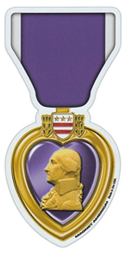 Heart Medal Military (Magnetic Bumper Sticker - Purple Heart Ribbon (Medal) - United States Military Decoration - 2.5
