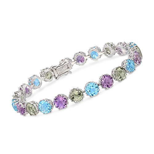 Ross-Simons 16.00 ct. t.w. Green and Pink Amethyst and 10.00 ct. t.w. Blue Topaz Tennis Bracelet in Sterling Silver -