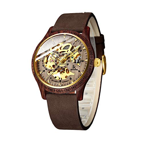 Bestn Men Watches, Wood Case Casual Lumious Automatic Mechanical Skeleton Wrist-Watch Genuine Leather Band -
