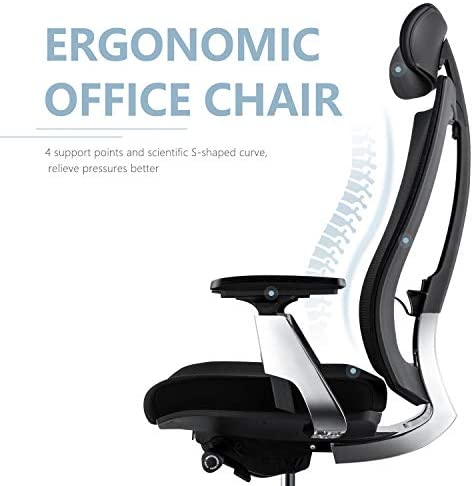 Ergonomic Adjustable Office Chair, Computer Desk Chair with Lumbar Support – High Back with Breathable Mesh, 3D Armrest, Comfortable Glide Seat Cushion and Aluminum Alloy Frame, Recliner