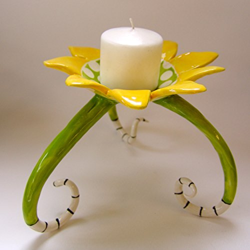 - Whimsical pottery flower Candleholder with crazy legs