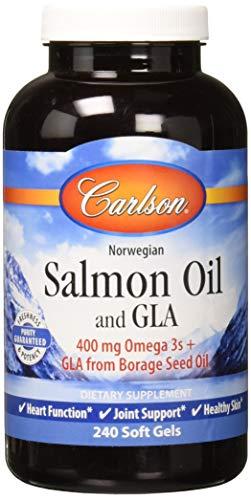Carlson Norwegian Salmon Oil and GLA, 400 mg Omega-3s, Prostaglandin Balance, 240 Soft Gels
