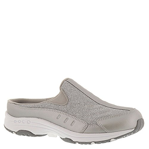 (Easy Spirit Womens Traveltime Leather Low Top Slip On, Silver-Spark, Size 8.5)