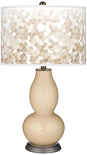 (Colonial Tan Mosaic Giclee Double Gourd Table Lamp - Color + Plus)