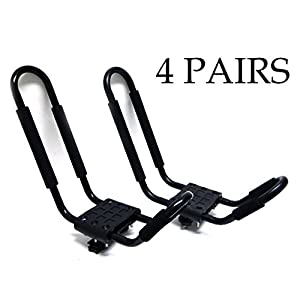 9sparts® J Bar Kayak Canoe Inflatable Boat Wakeboard Waveboard Paddleboard Snowboard Ski Roof Rack Carrier Car SUV Truck Jeep Roof Top Mount With Straps (4 Pairs (8 Racks))