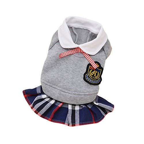 Skirt Pet Clothes - Idefair Spring and Autumn Dog Shirt Skirt Clothes Pet Clothing Campus Wind Dog Lattice Lovers Fashion Clothing(Grey Dress,S)