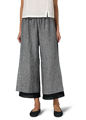 Vivid Linen Double-Layer Cropped Pants With Sea Shell Button-M-Two Tone Black/Black Two Tone Linen