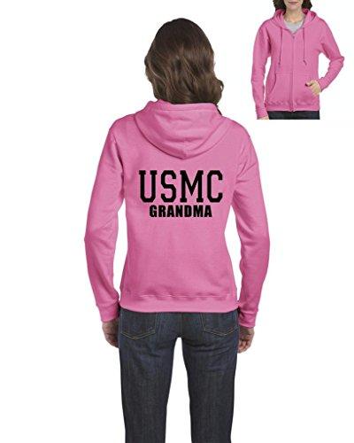 ARTIX USMC Grandma Proud Marine Corps Full-Zip Women Hoodie Small Azalea Pink (Cancer Zip Hoodie)