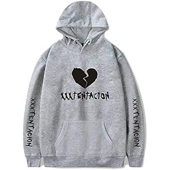Huaxix Adult Hoodie Xxxtentacion Trendy Top Hot Cool Rap Sweatshirt (Grey, S)