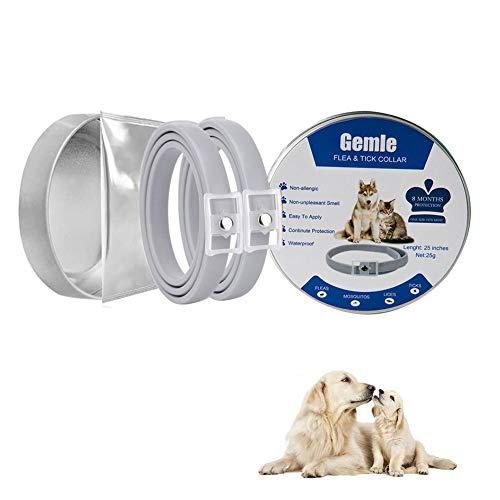 Collar for Dogs and Cats, Waterproof Non-Toxic Eco-friendly Natural Herbal Adjustable Collar - 8 Months Continuous Protection
