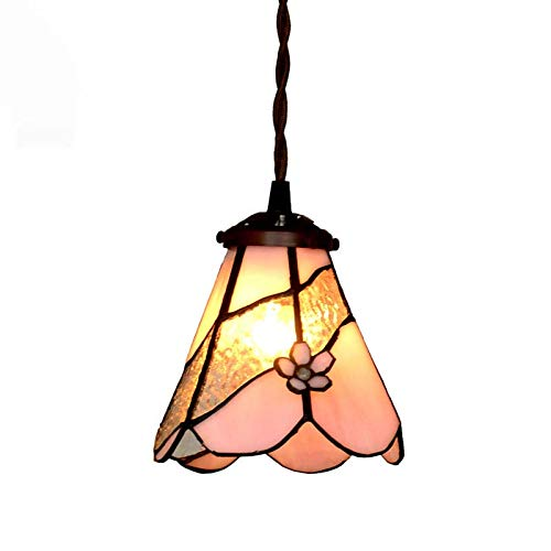 QCKDQ 6 Inch Tiffany Style Chandelier, Stained Glass Three-Dimensional Flower Petals Lights,Suitable for Living Room Bedroom Decoration E27,MAX40W