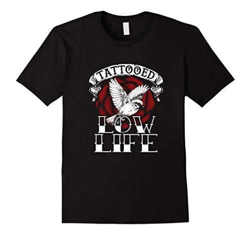 Men's Tattooed Low Life T-Shirt Large Black