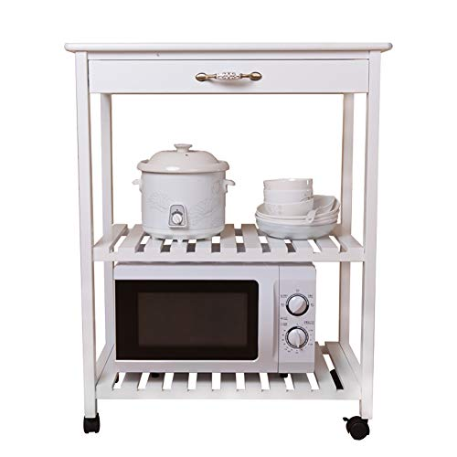 Microwave Oven Rack Kitchen Rack, Floor Solid Wood Multi-Layer Storage Rack Removable Multi-Function Trolley, with Universal Wheel by Kitchen Cart (Image #8)