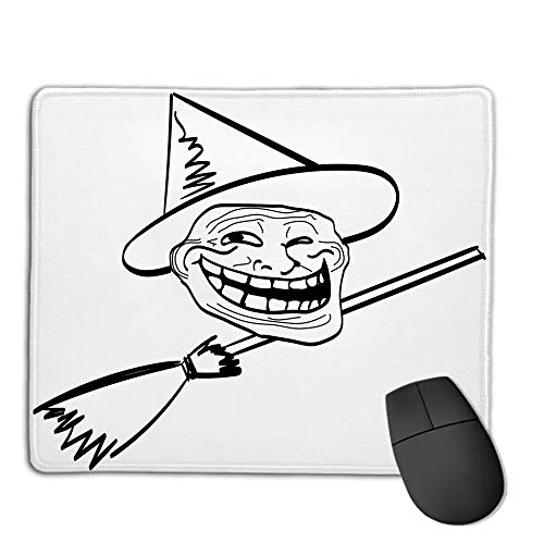 Computer Mouse Cushion and Natural Rubber Back and Cloth Surface,Humor Decor,Halloween Spirit Themed Witch Guy Meme LOL Joy Spooky Avatar Artful Image,Black White,Applies to Games,Home, School,offic]()