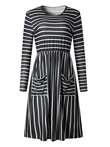 Tunic Print Striped Dresses Dot Women's Striped Casual Pockets BTFBM Polka black Long 2018 Elegant Sleeve with 1vqnF06