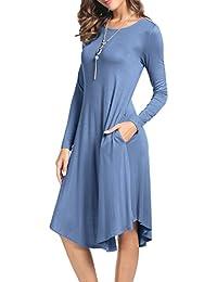 Women's Plain Long Sleeve Pockets Pleated Loose Swing...