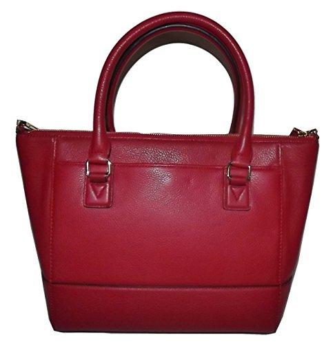 Calvin Klein Women's Leather Top Zip Tote Shoulder Bag Red