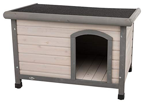 Trixie Natura Classic Dog House, Flat Hinged Roof, Adjustable Legs, Gray Small-Medium