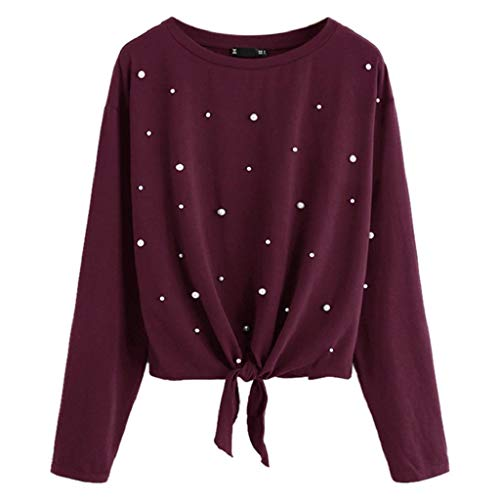 KASAAS Womens Beading Knotted Front Casual Solid Tops Long Sleeve Shirt O-Neck Pullover Sweatshirt Blouse(10,Wine Red)