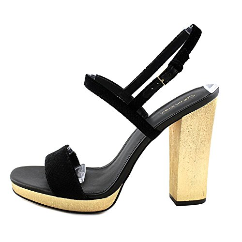 Sandals Open Bambii Toe Leather Casual Slingback Womens Calvin Snake Velvet Black Klein Print EIXxwBX8