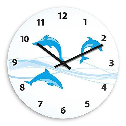 Modern Wood Wall Clock With Dolphin Motif For Children Nursery Clock Children Watch Wall Clockes Decorative Home Deocr Living Room Wall Art