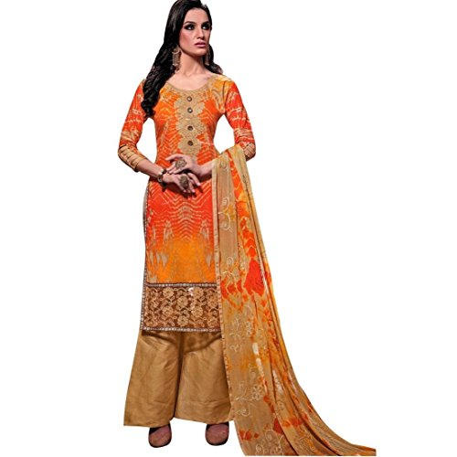 Ready To Wear Cotton Embroidered Printed Salwar Kameez Suit Indian – 0X Plus, Orange