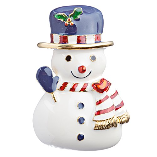 - Accessoriesforever Women Christmas Jewelry Crystal Rhinestone Enamel Snowman Brooch Pin BH113 White