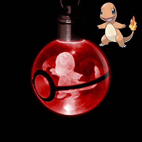 Crystal Poke Ball Night Light Ring LED Keychain with Soft Cleaning Cloth for Pokemon Fans (Charmander)