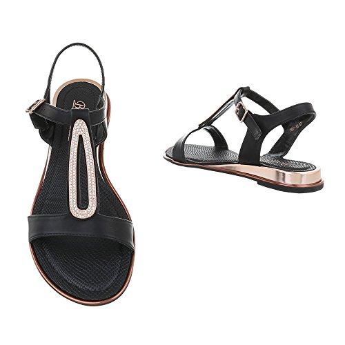 Ital-Design - Sandalias Romanas Mujer negro