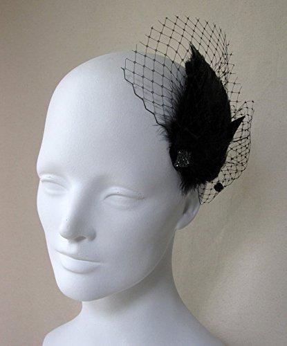 Burlesque Black Feather Veil Hair Clip by Deanna DiBene Millinery