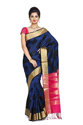 (Black & Blue Color Pure Handloom South Silk Saree)