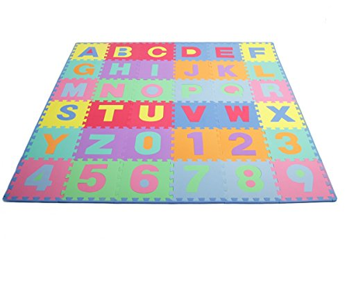 ProSource Kids Puzzle Alphabet, Numbers, 36 Tiles and Edges Play Mat, 12