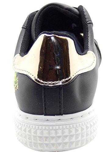 deporte para Zapatillas de mujer negras floral diseño de con