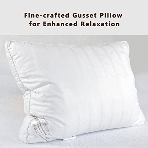 Down Alternative Pillow Fluffy, Best Hotel Pillows Relief For Migraine & Neck Pain, Hypo-Allergenic 100% Cotton Cover with Elegant Design by The Duck And Goose Co Standard One Pack