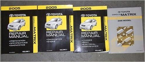2005 Toyota Corolla Matrix Service Shop Manual Set Oem 3 Volume Set And The Electrical Wiring Diagrams Manual Toyota Amazon Com Books