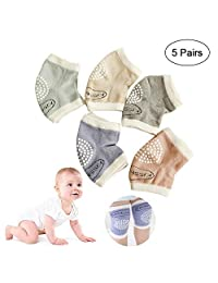 Baby Crawling Knee Pads, Leegoal 5 Pairs Anti-Slip Cotton Baby Knee Pads Soft & Breathable, Unisex Elastic Toddler Knee Pads for Boy, Girl (6-24 Months)