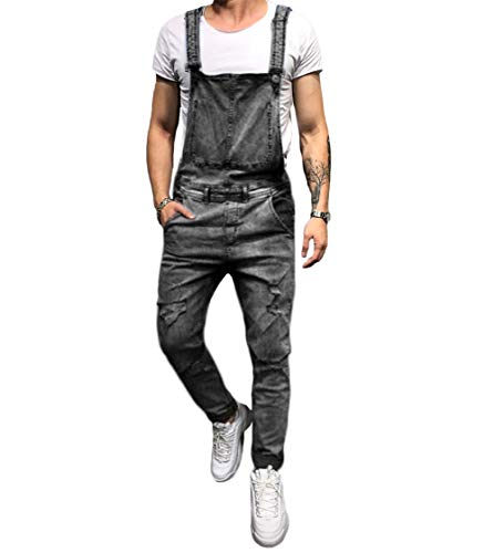 lisenraIn Men's Denim Bib Overalls Fashion Ripped Jeans Slim Jumpsuit with Pockets (Grey, -