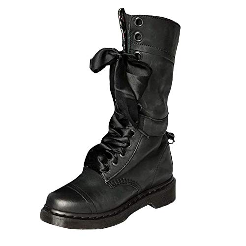 vermers Womens Retro Shoes Low-Heeled Leather Boots Leisure Non-Slip Round Toe Lace-Up Middle Boots(US:7, Black)