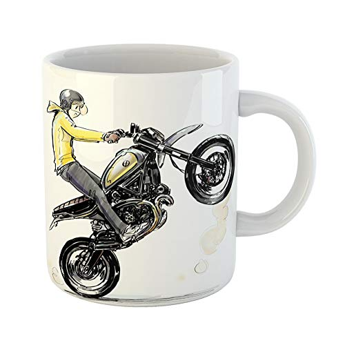 Emvency Coffee Tea Mug Gift 11 Ounces Funny Ceramic Activity Cool Boy Riding Motorcycle Automotive Bike Gifts For Family Friends Coworkers Boss Mug
