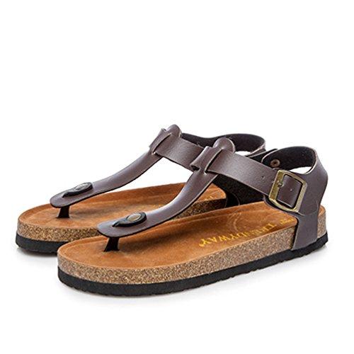 Donne Spiaggia Sandali Infradito con Pantofole Peep Toe Marrone Spiaggia con ZKOO Scarpe Bassi Regolabile Fibbia Cinturino nWIvvxR