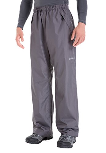 Clothin Men's Waterproof Elastic-Waist Drawstring Rain Pants with Front Zipper Pockets Basic Insulated Workout(Grey M)