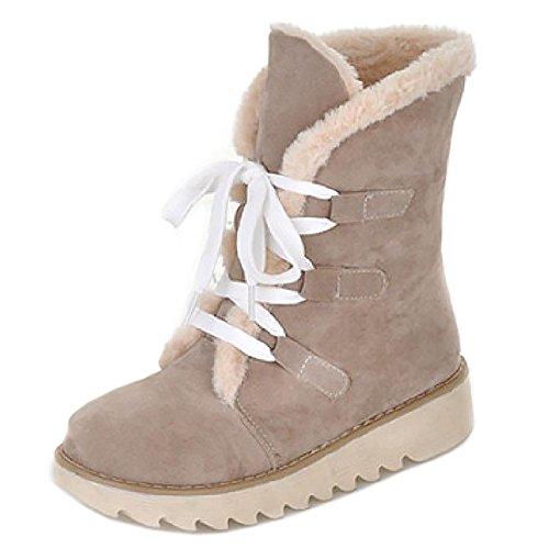 Beige lacets ville Chaussures Femmes de chaudes a Bottines RAZAMAZA Hiver z7TUU6