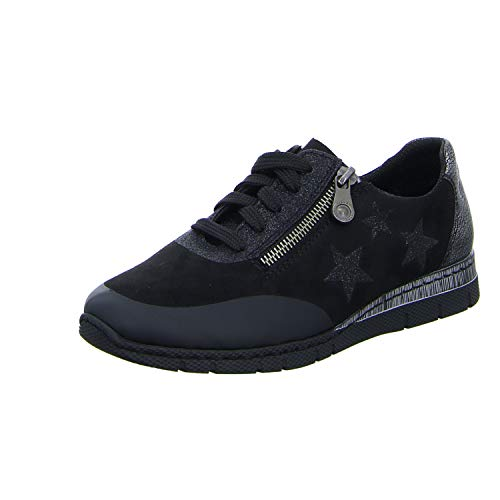 Black up Star Lace Trainer Women's Low 02 Black Detailed Rieker Wedge Sq5wFnanW