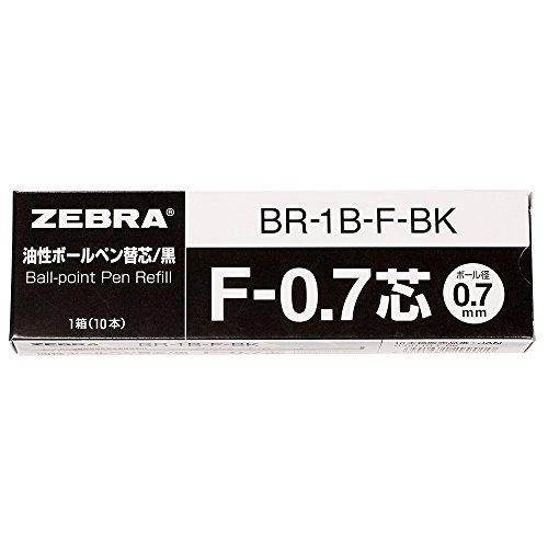 Zebra nuSpiral CC Ballpoint Pen Refill F-0.7 - 0.7 mm - Pack of 10 - Black