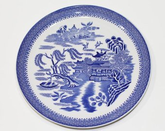 Spode Mandarin Willow Pattern 8 Inch Coupe Plate