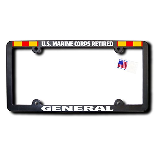 - US Marine Corps Retired GENERAL License Frame w/Reflective Text & Expeditionary Ribbons
