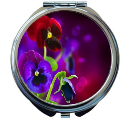 Rikki Knight Purple and Red Spring Pansy Flowers Design Round Compact Mirror