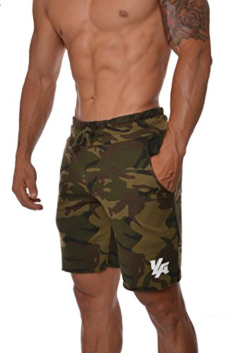 YoungLA Gym Shorts for Men French Terry Cotton Workout Casual Athletic Basketball with Pockets 112 Camo Green Large (Camo Clothing Mens)