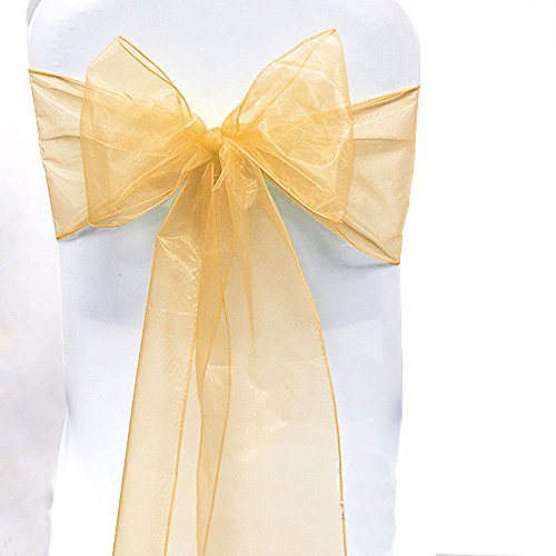 - SARVAM FASHION SF New Pack of 25 Chair Decorative Organza Sashes Bow Designed for Wedding Events Banquet Home Kitchen Decoration - (25, Gold)